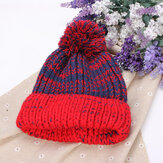 Women Fashion Mix Two Color Knit Hat Fluff Ball Wool Cap