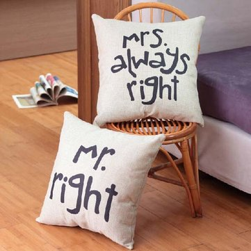 Creative Signature Cotton Pillow Cover Bed Sofa Car Pillowcase