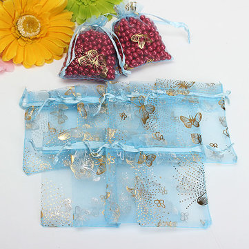100pcs Blue Butterfly Drawstring Organza Gift Candy Jewelry Pouch Bag