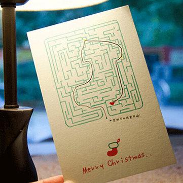 6 قطعة / الوحدة الإبداعية المتاهة بطاقة معايدة عيد الميلاد صنع بطاقة آخر