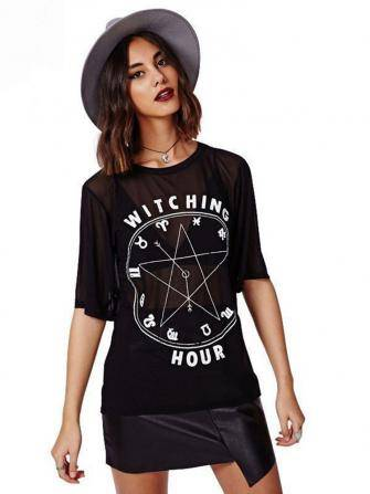 Women Sexy 12 Constellation Letters Printed Mesh Short Sleeve T-shirt