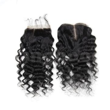 6A Virgin Hair Lace Closure Brazilian Deep Curly Human Hair Closures 4x4 Free Middle Part