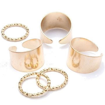 6pcs Punk Open Plain Band Stack Knuckle Rings Set Masters Sun