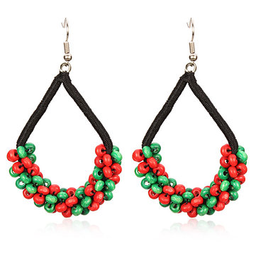National Style Colorful Wooden Beads Ear Drop Handmade Earrings
