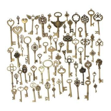 69pcs Mixed Vintage Heart Owl Crown Key Necklace Pendant Charm DIY