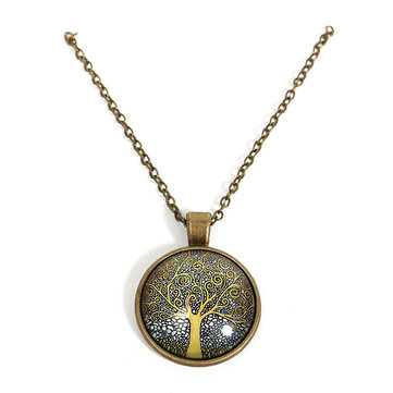 Vintage Glass Round Tree of Life Faith Moonlight Charm Necklace for Women for Men 8Mar
