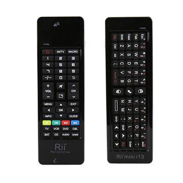 Rii i13 2.4G Wireless Mini คีย์บอร์ด Air เม้าส์ รีโมทคอนโทรล พร้อม ไมโครโฟน ลำโพง