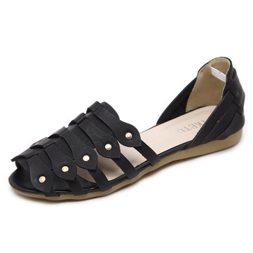 Roman Casual Slip On Peep Toe Flat Sandals For Women