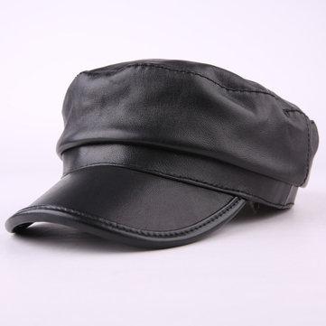 Mens Women Sheepskin Beret Caps Outdoor Winter Warm Adjustable Hats