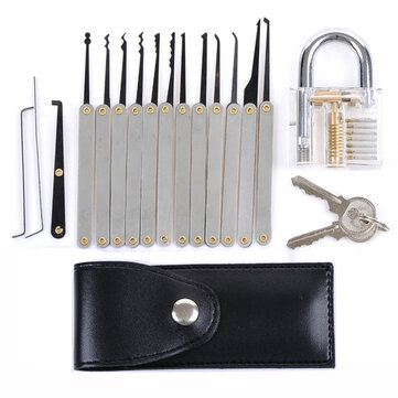 DANIU Transparent Practice Padlock with 12pcs Unlocking Lock Pick Set Key Extractor Tool Lock Pick Tools