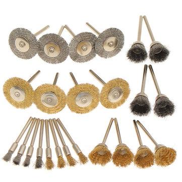 24pcs Wire Steel Brass Brushes Set Polishing Brush Wheels for Dremel Rotary Tool