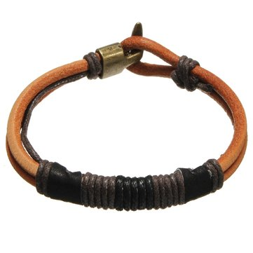 Vintage Men's Leather Rope Tribal Braided Bangle Bracelet