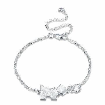 Marque de chien en forme de chaîne de pied en argent sterling doré Bijoux en bijoux