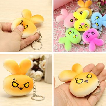Bunny Wishes Squishy : Squishy Rabbit Bunny Face Cute Evil Love Random Color Emoji Key Chain Phone Bag Strap Decor Gift ...
