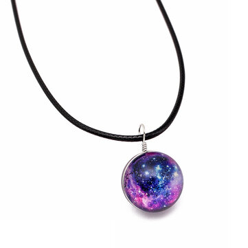 Vintage Colorful Leather Rope Galaxy Planet Star Glass Ball Pendant Women Necklace