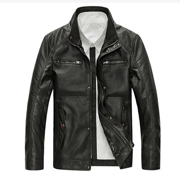 Mens PU Leather Motor Jacket Fashion Casual Stand Kraag Multi Pocket Coat