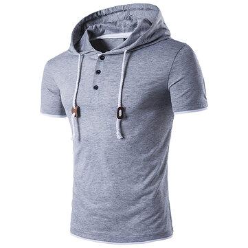 ฤดูร้อนบุรุษCasualสวมหมวกคลุมด้วยผ้าเช็ดตัวเสื้อสีPureเสื้อแขนสั้นเสื้อยืด