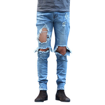 Mens Washed Ripped Jeans Beggar Knee Broken Holes Side Zipper Slim Fit Denim Pants