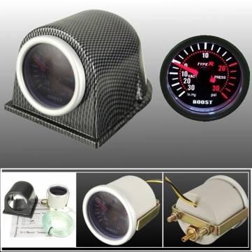 52 millimetri Turbo calibro di spinta fumo in fibra di carbonio metri pod faccia psi universale