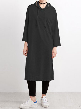 Casual Women Split Hooded Pure Color met lange mouwen Midi Dress