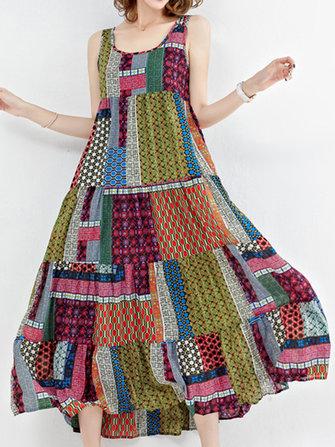 Gracila Women Sleeveless Patchwork O-Neck Maxi Tank Dress