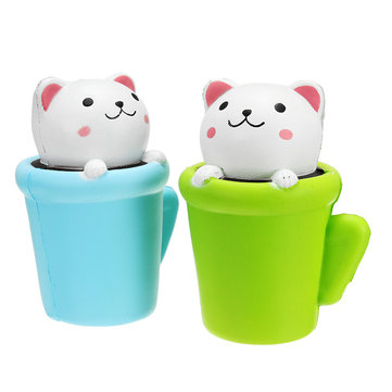 Squishy Jumbo Teacup Cat Kitten 14cm Slow Rising With Packaging Soft Animals Collection Gift Decor Toy