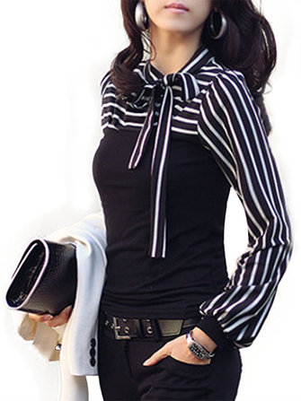 Zanzea Women Long Lantern Sleeve Striped Blouse