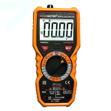 PEAKMETER PM890C Digital True RMS 6000 Counts Multimeter DC/AC Current Voltage Capacitance Resistance Frequency Temperature hFE Tester