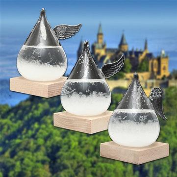 Pronóstico del tiempo Crystal gotas de forma de ala Decoración de vidrio de tormenta con base de madera