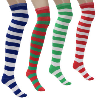 Women Ladies Soft Fashion Over Knee Socks Striped Cotton Thigh Long Stocking For Party Cosplay