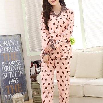 Woman Comfy Cotton Cardigan Homewear Heart Printed Long Sleeve Sleepwear Sets
