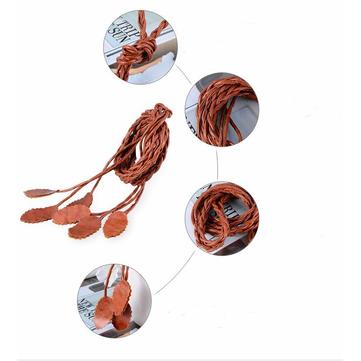 Waar avontuur nieuwe bladeren Woven Riemen Vrouwen Knitted Lange Tassel Riemen Ladies Waist Chain