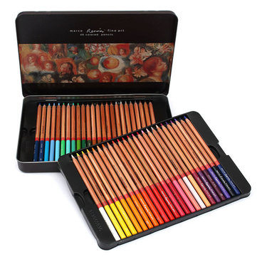 48 Colored Drawing Pencils Set Art  Oil Base Non-toxic In Iron Box