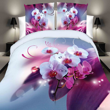 4pcs Suit Polyester Fiber 3D White Pink Phalaenopsis Reactive Dyeing Bedding Sets Queen King Size