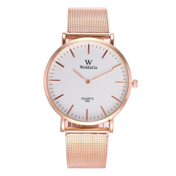 WOMAGE 699 Fashion Couple Quartz Watch Casual Rose Gold Mesh Band Wrist Watch