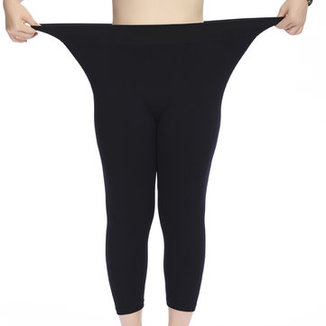 Plus Size Women Modal Stretch Breathable Leggings High Waist Soft Seventh Leggings