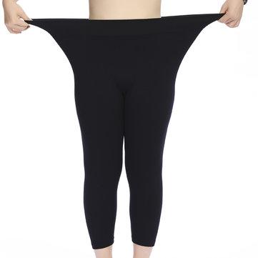 Plus Size Women Modal Stretch Breathable Leggings High Waist Soft Seventh Leggings