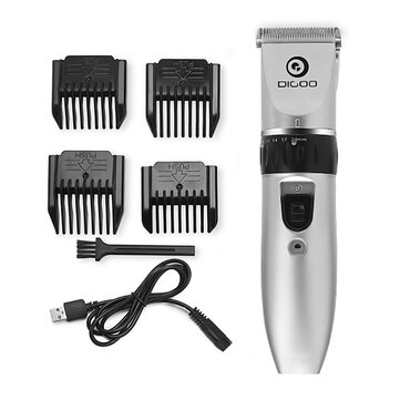 Digoo BB-T1 USB Ceramic R-Blade Hair Trimmer Rechargeable Hair Clipper 4X Extra Limiting Comb Silent Motor for Children Baby Men