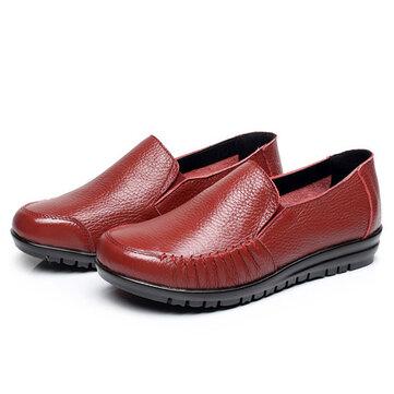 Dimensioni ci 5-12 donne di cuoio scarpe morbide slittamento esterno sui fannulloni piani