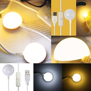 6 LED Magnetic Tape Metal Base USB Reading Night Light With Switch