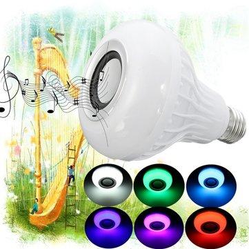 E27 15W RGBW Wireless Bluetooth Speaker Music Play LED Smart Light Bulb + Remote AC100-240V