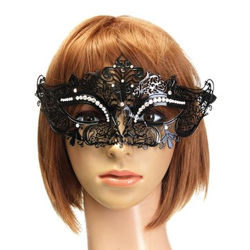 Black Venetian Metal Mask Masquerade Costume Ball Party Supplies