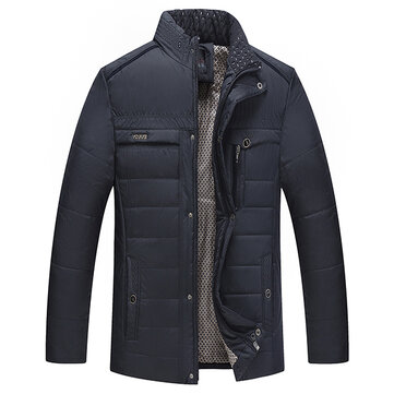 Mens Winter Thick Stand Collar Fashion Casual Jacket Single Breasted Warm Coat