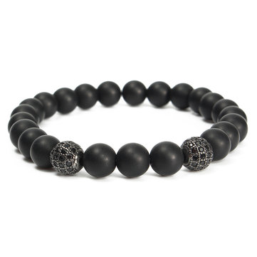 Buy Matte Onyx Bracelet Black Agate Zircon Ball Beads Jewelry for $6.25 in Banggood store