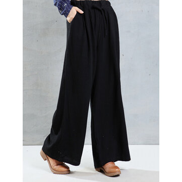 Buy O-NEWE Casual Women Pockets Wide-legged Pants for $35.13 in Banggood store