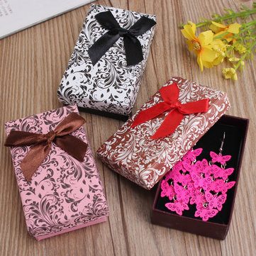 Ribbon Flower Square Earrings Ring Jewelry Package Gift Box Case