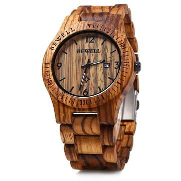 BEWELL ZS-W086B Men Natural Wooden Auto