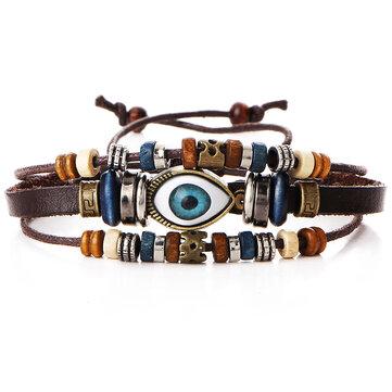 Multilayer Beaded Bracelet Eyeball Hand Woven Artificial Leather Bracelet for Women Men