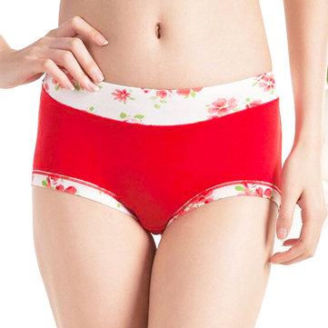 Vrouw Comfy Bamboe Fiber Floral Printing Panties Gezond Ademend Underwear