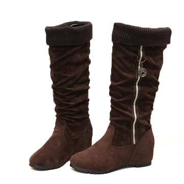 New Women Mid-Calf Boots Suede Round Toe Comfortable Fashion Slip-On Boots